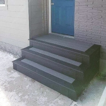 Deck projects can be as small as your front step!  This high traffic area would benefit from a low maintenance, durable product!  The full step is from @trexcompany, the outside and border is Trex Select Winchester Grey and inside colour is Trex Select Pe