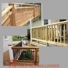 Wood rails are not only a safety feature, with so many design options they frame a deck or porch for curb appeal, adding a unique style to your home and backyard. #friestallman #yqr #planahead #deckseasoniscoming #deckdesign #yard #decks #decklife  #outdo