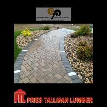 Concrete pavers offer years of use and durability.  Sets can be laid in a variety of patterns to create simple or stunning designs. #friestallman #fortquappelle #landscaping #yardwork #summerprojects  #cindercrete